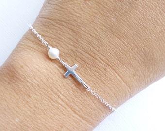 Sideways Cross with Pearl Bracelet... Tiny Sterling Silver Side Ways Cross