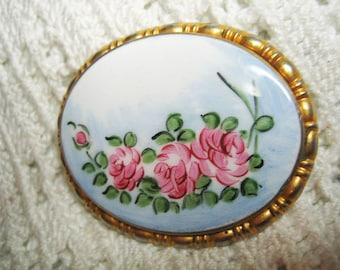 Antique Hand Painted Pink Rose Porcelain Brooch