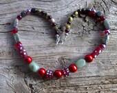 Glass,adventurine,tree agate beaded necklace 20 inch
