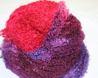 Yarn Boucle Mohair Wool Worsted Weight 3-ply 140 yards Hand Dyed OOAK Colors International Shipping - Berry-licious