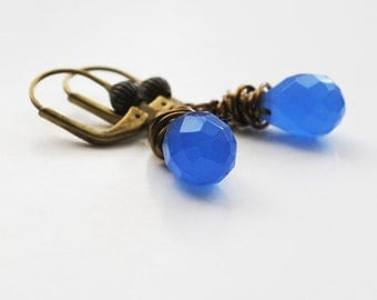 Wire wrapped brass and luminous blue quartz earrings
