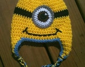 Minion Hat.....Despicable Me....Light Blue Trim.....MADE TO ORDER.....Choose your size