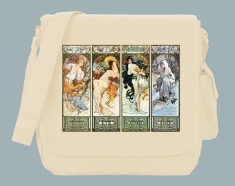 Les Saisons The Seasons Illustration by Alfonse Mucha Messenger Bag, 15x11x4, Black or Natural