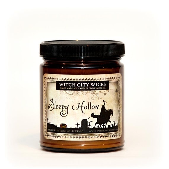 Sleepy Hollow autumn, pumpkin apple smoky scented soy Halloween candle amber apothecary jar