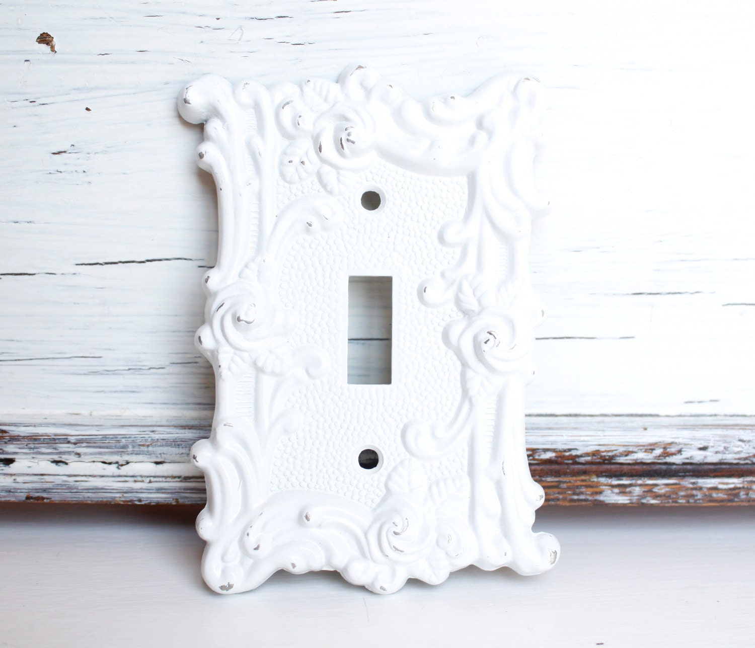Vintage Ornate Metal Light Switch Cover White Paint