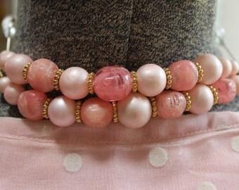 Vintage Pink Beaded Bracelet