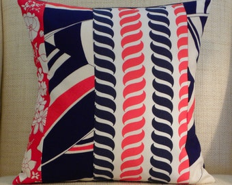 16 x16 Pillow Cover - Vintage Red, White and Blue Nautical Patchwork
