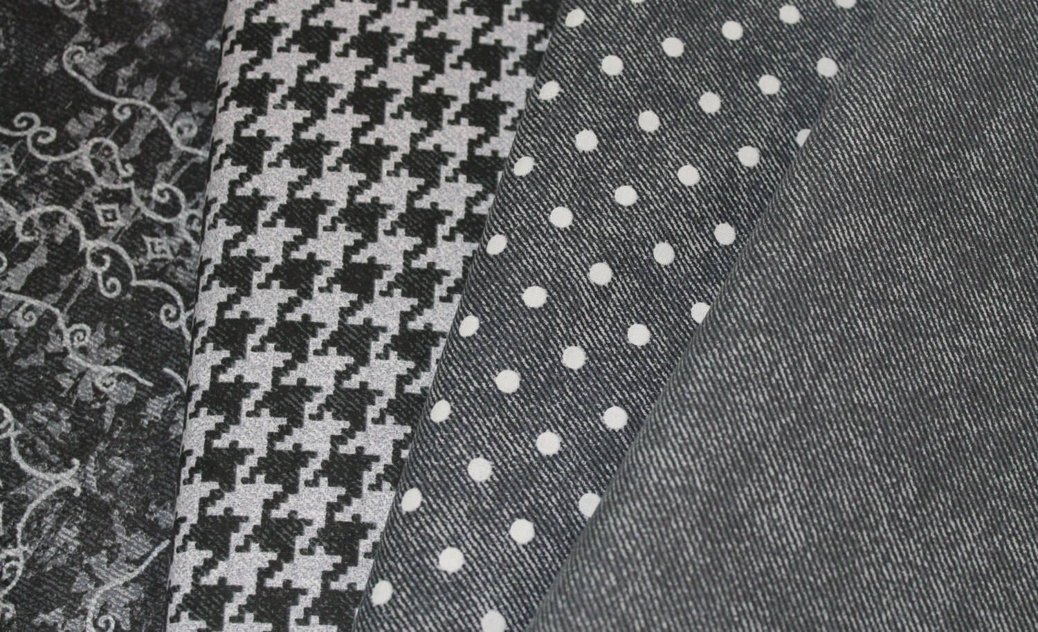 Black gray and white chambray fabric cotton by for Fabric by the yard near me