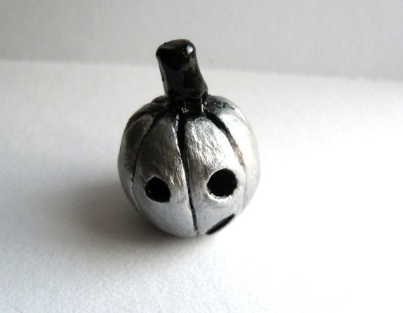 Halloween Pumpkin - The Silver Pumpkin - Handmade Clay Figurine
