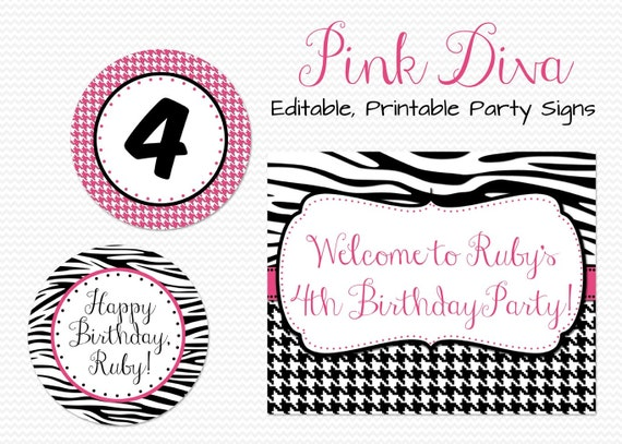 Zebra Print Party Decorations, Party Signs, Birthday Party Decor, Bridal Shower Decor, Hot Pink, Welcome Sign - Editable, Printable, Instant