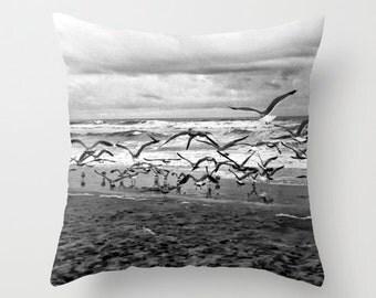 Beach Pillow Seagulls San Diego Black and White Home Decor, Beach Decor, Beach Throw Pillow, Decorative Throw Pillow
