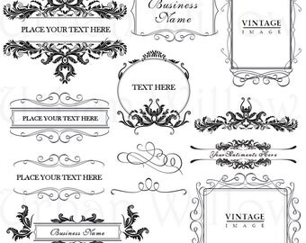 ORNAMENTAL VINTAGE FRAMES 5 - Digital vintage style designs, Png files.