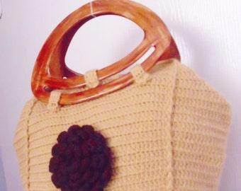 Crochet Caramel Color Handbag