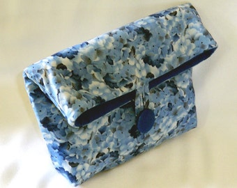 Blue Cosmetic Bag, Makeup Bag, Small Cloth Purse, Clutch Purse, Handmade Bag, Toiletry Bag, Blue, Flowers, Purse Organizer