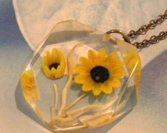 Reverse Carved Painted Lucite Flower on brass chain