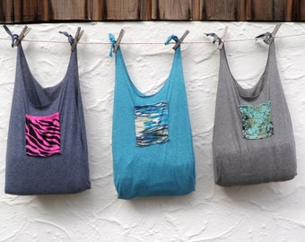 Reusable Produce Bag Compact Fold Up Grocery Tote Blue Grey Pink Zebra Pocket T-Shirt Bag