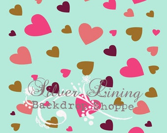 NEW ITEM 4ft x 5ft / Vinyl Photography Backdrop / Hearts On Tiffany