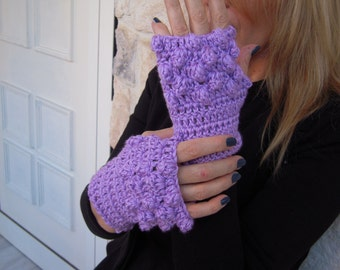 gloves handmade crochet eco friendly gloves/fingerless gloves /gift idea for her in light purple women winter accessories by golden yarn