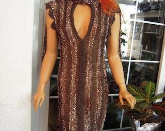 dress handmade knitted asymmetrical dress brown dress,bow dress,size S,M,Lwomen fashion gift idea for her by golden yarn