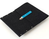 iPad Air Sleeve, Case, Clutch, Cover, Bag - black synthetic felt features clasp with blue leather strap