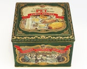 Sale! Vintage PET BRAND Family RECIPE Tin  / England / 1970's / Barringer Wallis and Manners / Recycle / Upcycle/ Vintage Decor / Home Decor