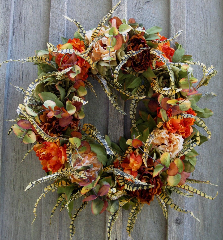 Fall Wreath Autumn Wreaths Thanksgiving Harvest Elegant