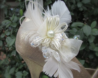 Bridal Shoe Clips Ivory Feathers