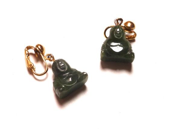 Vintage 1960s Tribal Carved Jade Buddah Earings