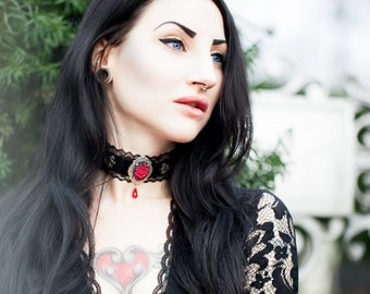 Gothic Lace Choker - Black Velvet with Red Flower Cameo - Victorian Gothic Jewelry