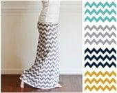 Custom Maxi Skirt, Chevron, Yoga Waistband, Long Maternity - Kamiann