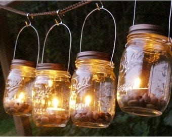 SALE!! Wedding Lighting Four Ball Mason Jar Lantern Candle Hanging Vase Outdoor Lighting
