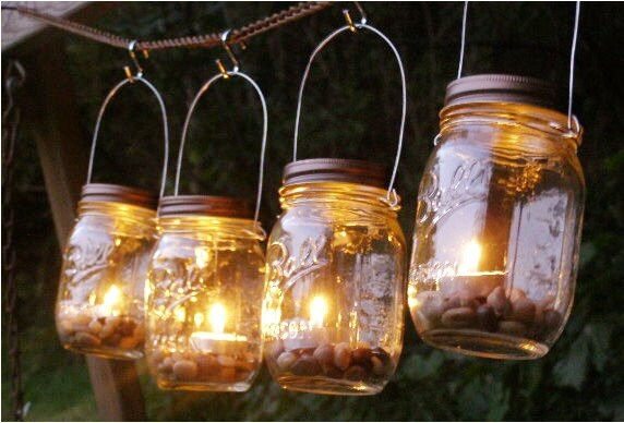 Four Ball Mason Jar Clear Lantern Candle Hanging Vase Outdoor
