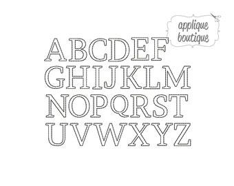 INSTANT DOWNLOAD, Machine Applique Design, Alphabet A-Z, Unfinished Edge