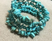 Turquoise Chip Memory Wire Bracelet