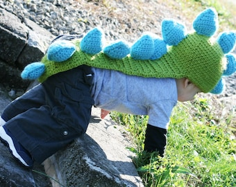 Dinosaur Hat with Tail of Spikes- MADE to ORDER baby, toddler sizes