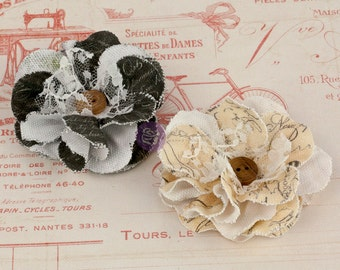 Prima fabric flowers Clara 571092 - Mustard Black vintage style canvas &  lace fabric flowers embellished with wood button centers  (2 pcs)
