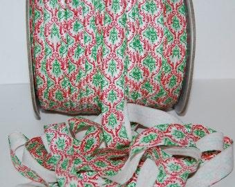 "Christmas Damask Red & Green FOE Fold Over Elastic - 5 or 10 yards - Shiny FOE 5/8"" inch Baby Headbands Hair Ties Satin Elastic Soft Elastic"