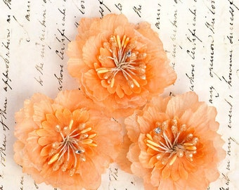 "Peach  Fabric Flowers 3"" Divine Collection Prima 564612 Orange silk flowers headband flowers corsage flowers wedding f DIY hair flowers"