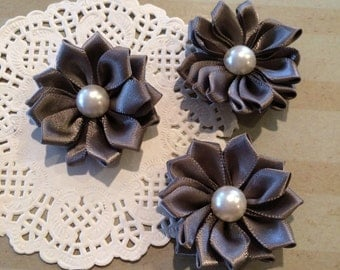 """Small Gray Fabric Flowers (6 pcs)  - 1.5 """" Satin ribbon flowers pearl centers flower applique Grey Sweetheart accent flower embellishment"""