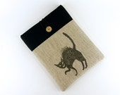 Black Cat iPad or Kindle 1 2 3 XD Fire or Any Your TABLET Made to Order sleeve cover