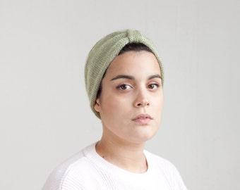 olive pastel green hand knitting women's turban hair headband HBL007