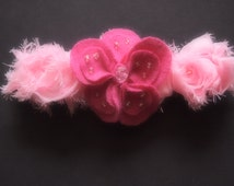 Wedding Garter Ivory White Pastel and Dark Pink