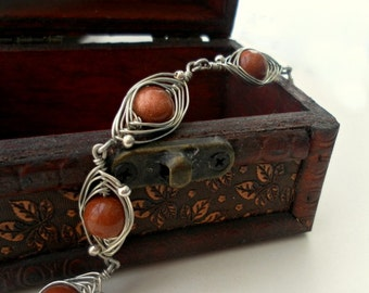 bracelet in handmade wire wrapped jewelry handmade -  brown goldstone   - gemstone bracelet,  wedding bracelet,  , Weddings Jewelry,