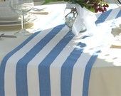 Baby Blue White Stripes Table Runners for Wedding Decor, Birthday Parties, Party Decor, Holidays  - Striped Lt. Blue Table Runner
