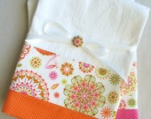 Kitchen towels with pink and orange abstract floral cotton fabric accent - set of two flour sack towels