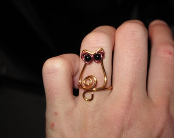 Wire Wrapped Small Cat Wearing Sunglasses MADE to ORDER Adjustable Ring