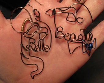 Wire Wrapped Beauty and The Beast Earrings MADE to ORDER