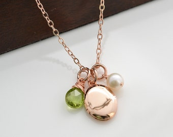 Locket, Rose Gold Necklace, Peridot Necklace, Pendent, Birthstone, August Birthday, Locket Necklace, Bridesmaid Gift, Holiday Gift