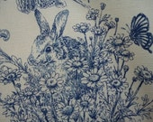 Animals in floral, blue, fat quarter, pure cotton fabric