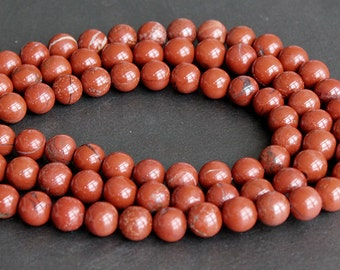 SALE - Red Brecciated Jasper Round Beads 10mm - FULL STRAND (15 Inches)